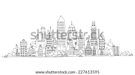 Abstract city view business aria, Sketch collection - stock vector