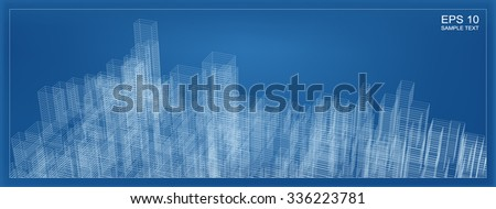 Abstract city wireframe background building vector stock vector abstract city wireframe background of building vector blueprint background for template design malvernweather Image collections