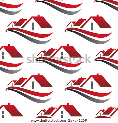 Abstract cityscape seamless pattern with red house roofs underlined curved lines isolated on white background suited for architecture or real estate concept design - stock vector
