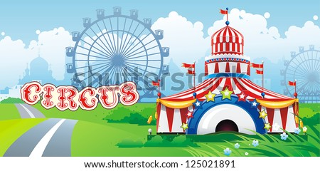Abstract Classical Circus tent with flags. Vector illustration. - stock vector
