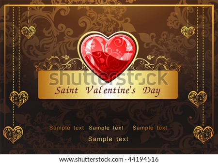 Abstract Classical congratulation card with glossy red hearts. Vector frame background with Place for your text. Golden and Chocolate illustration for design of packing - Saint Valentine's Day. - stock vector