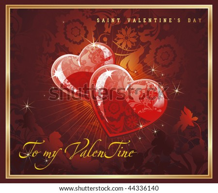 Abstract Classical congratulation card with glossy red hearts. Vector frame background with Place for your text. Chocolate illustration for design of packing - Saint Valentine's Day. - stock vector
