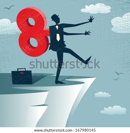 Abstract Clockwork Businessman walks off a cliff. Great illustration of Retro styled Businessman walks off a cliff because he is wound up like a toy robot with a huge clockwork key.  - stock vector