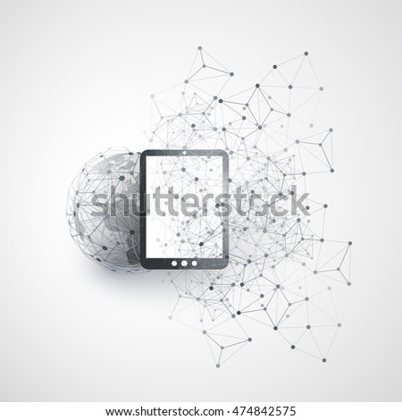 Abstract Cloud Computing and Global Network Connections Concept Design with Earth Globe, Digital Tablet, Wireless Mobile Device, Transparent Geometric Mesh - Illustration in Editable Vector Format