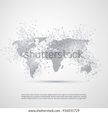Abstract Cloud Computing and Network Connections Concept Design with Transparent Geometric Mesh and World Map - Illustration in Editable Vector Format - stock vector