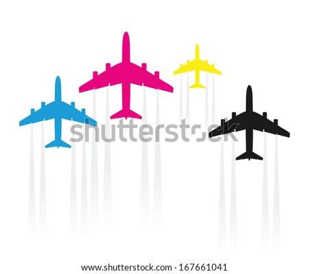 abstract cmyk airplane  - stock vector