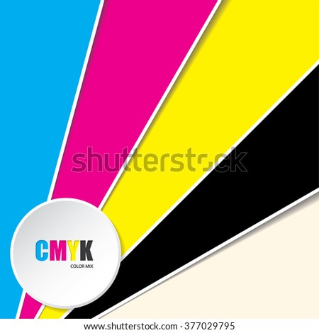 Abstract cmyk background with 3d button and CMYK text - stock vector