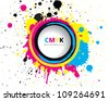 Abstract CMYK paint splash - stock vector