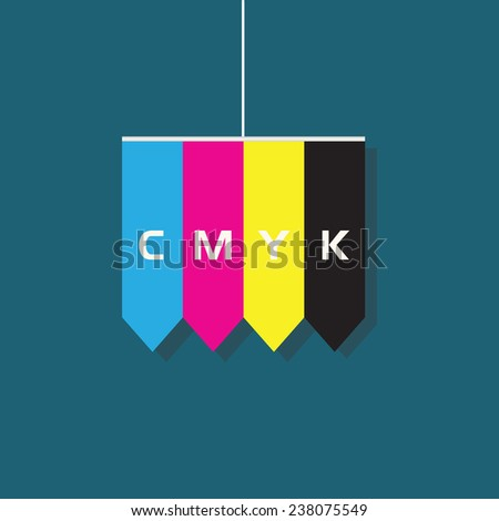 Abstract CMYK shapes hanging element - stock vector