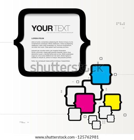 Abstract CMYK text box design vector background - stock vector