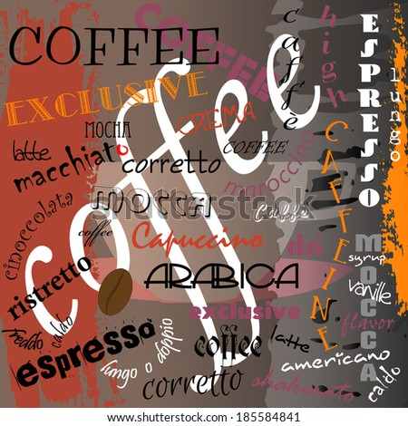 abstract coffee background, design template, with word/letter, grungy - stock vector