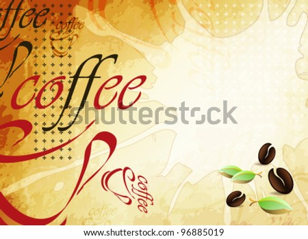 Abstract coffee background with coffee cup and coffee beans on old paper texture - stock vector