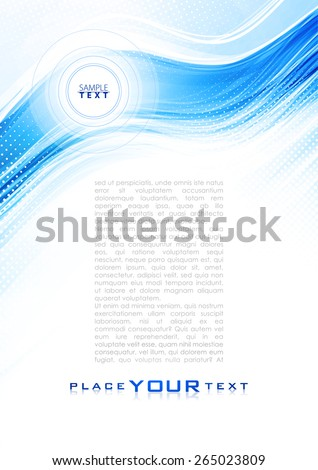 Abstract cold wave. Blue and white color background with lighting effect. Design template layout page for corporate business book, booklet, brochure, flyer, poster, banner, flyer. Vector - stock vector