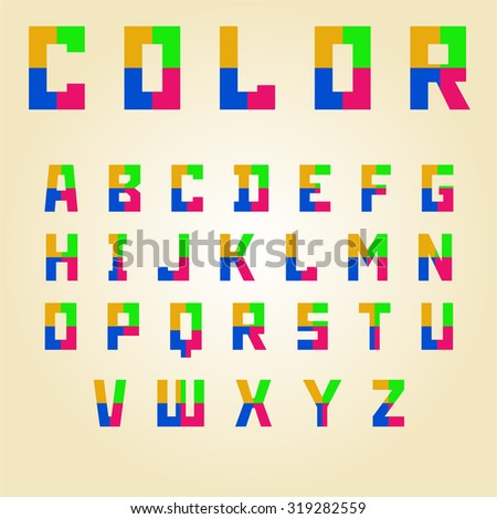 abstract color alphabet capital letters vector illustration