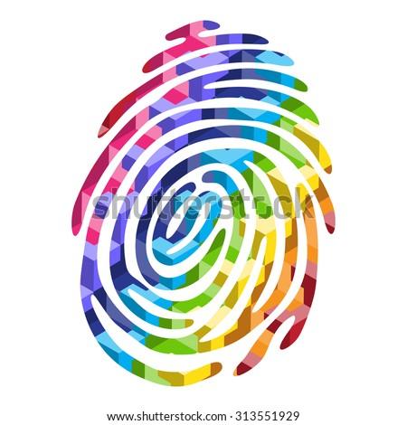 Abstract Color fingerprint. Fingerprint shape. Fingerprint secure. Fingerprint identification. ID fingerprint. Push fingerprint for unlock. Fingerprint pressure. Fingerprint vault. Vector Fingerprint. - stock vector
