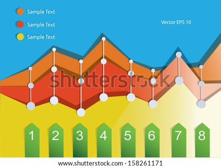 Abstract color graphic with numbers - stock vector