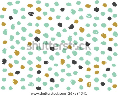 Abstract Color Hand Drawn Polka Dots Pattern Background - stock vector