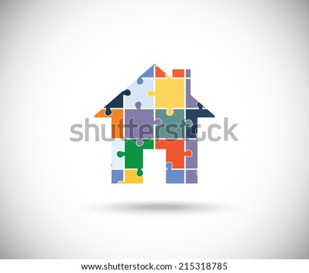 Abstract color house built of puzzle pieces - stock vector