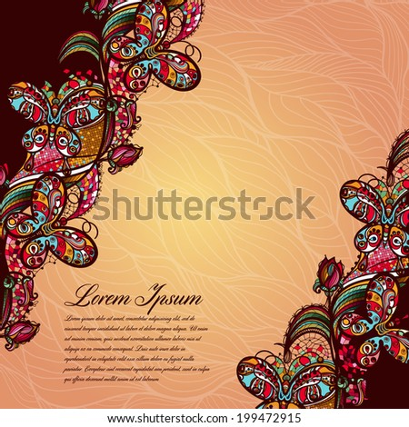 Abstract color lacy pattern of the elements of flowers and butterflies.Vector colorful background. Bright colors for decoration and scenery, presentations and gifts for your design - stock vector