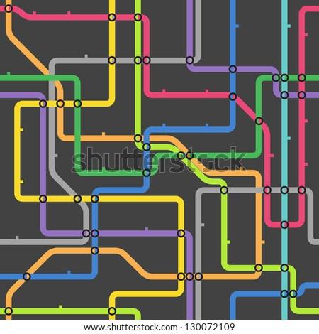 Abstract color metro scheme - stock vector