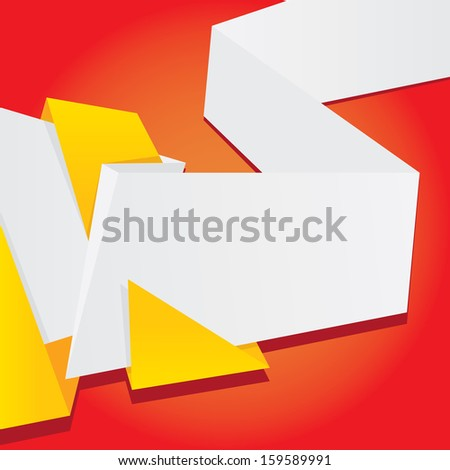 Abstract Color Origami Paper Banner On Red Background Vector Speech Bubble