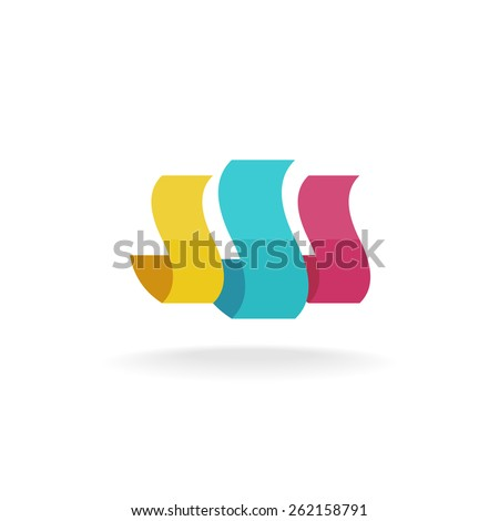Abstract color print sheets logo template  - stock vector