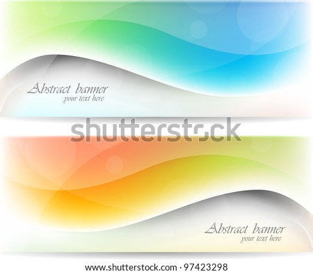 Abstract color set of banners with waves - stock vector