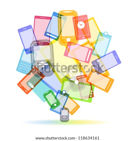 Abstract color speech cloud of modern mobile phones - stock vector