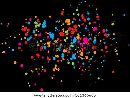 Abstract color splash illustration on black background. Calligraphy ink drop on paper random pattern background in color. Colorful confetti on black background.  - stock vector