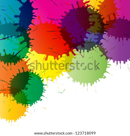 Abstract color splashes vector background - stock vector