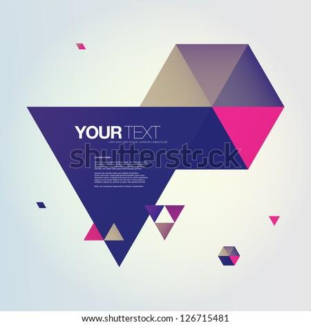 Abstract color triangles text box design vector - stock vector