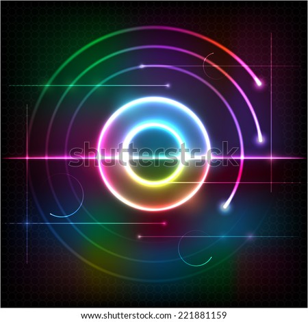 Abstract color waves and circles, design element. Vector background - stock vector