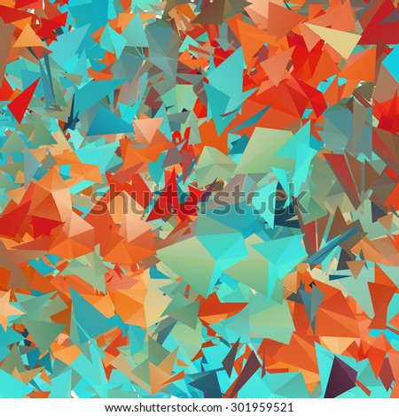 Abstract colored bright autumn background with triangles - stock vector