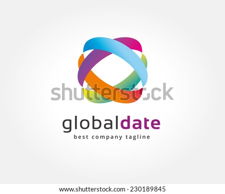 Abstract colored circles vector logo icon concept. Logotype template for branding and corporate design - stock vector