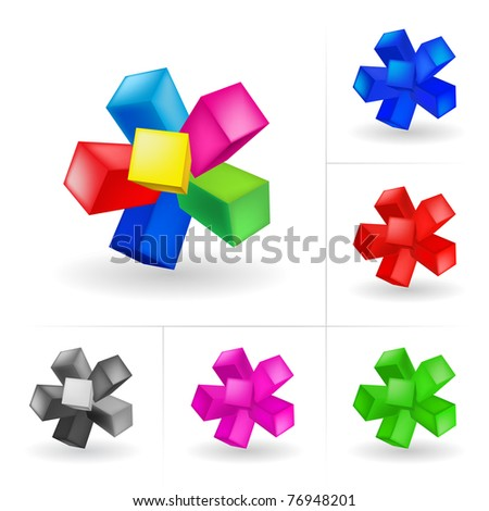 Abstract colored cubes. Illustration on white background for design - stock vector