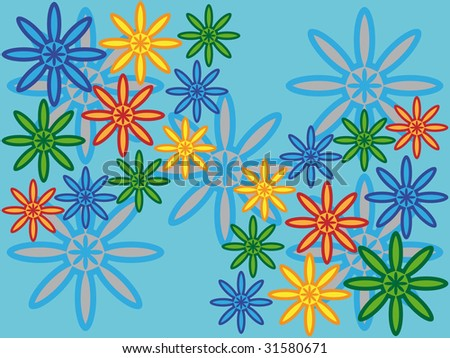 Abstract colored flowers on blue background - vector illustration.