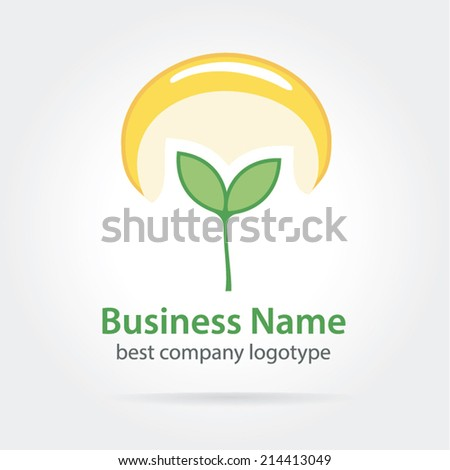 Abstract colored vector logo. Similar to sprout and sun. Isolated on white background. Green. nature, care, growth, medical, healthcare, sun. Company logo
