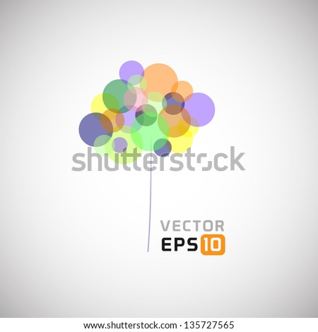 Abstract Colored Vector Tree - stock vector