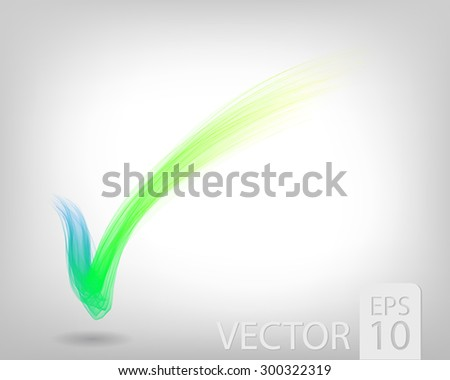 Abstract colored wave lines VECTOR. Check mark. - stock vector