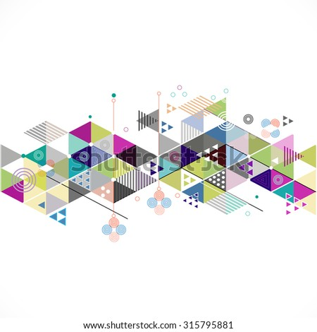 Abstract colorful and creative geometric strip on middle, vector illustration