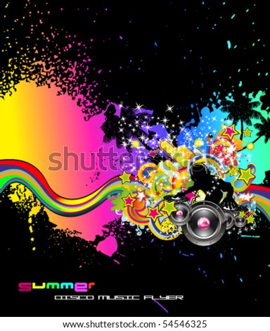 Abstract Colorful Background for Musical Event Flyer - stock vector