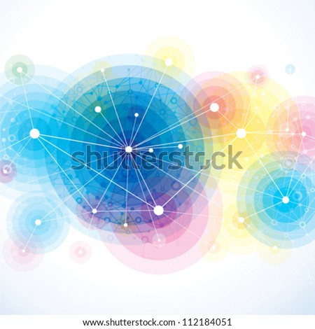 Abstract colorful background of molecule. - stock vector