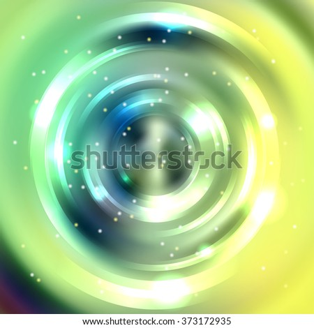 Abstract colorful background, Shining circle tunnel. Elegant modern geometric wallpaper.   Vector  illustration. Green, yellow colors.  - stock vector