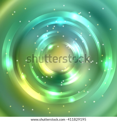 Abstract colorful background, Shining circle tunnel. Elegant modern geometric wallpaper.   Vector  illustration. Green, yellow colors - stock vector