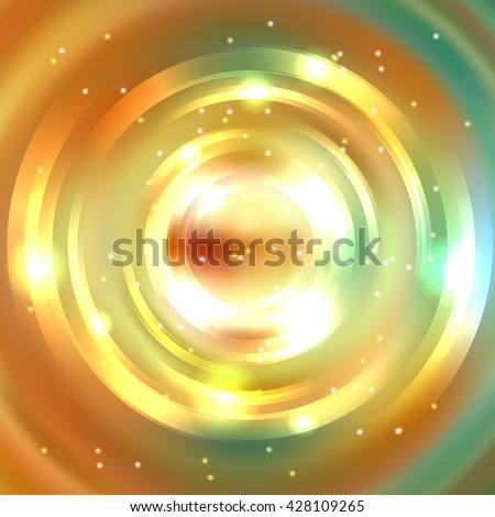 Abstract colorful background, Shining circle tunnel. Elegant modern geometric wallpaper.   Vector  illustration. Yellow, orange, green colors - stock vector