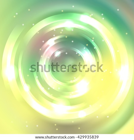 Abstract colorful background, Shining circle tunnel. Elegant modern geometric wallpaper.   Vector  illustration. Yellow, green colors.  - stock vector