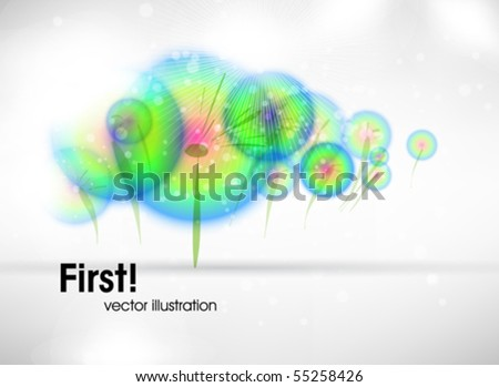 Abstract colorful background. Vector. Dandelions.