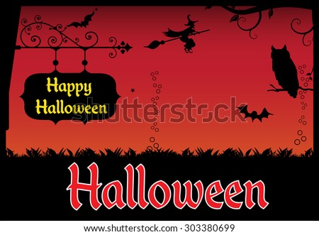 Abstract colorful background with a black plate with the text Happy Halloween and a witch flying on a broom in front of a creepy red sky. Halloween theme - stock vector