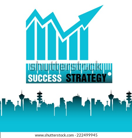 Abstract colorful background with a blue graph with arrow and the words success and strategy written bellow with white and black letters