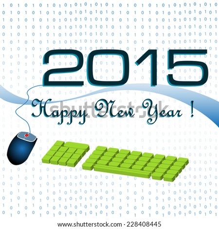 Abstract colorful background with a computer keyboard and mouse connected to the year 2015. New Year theme - stock vector